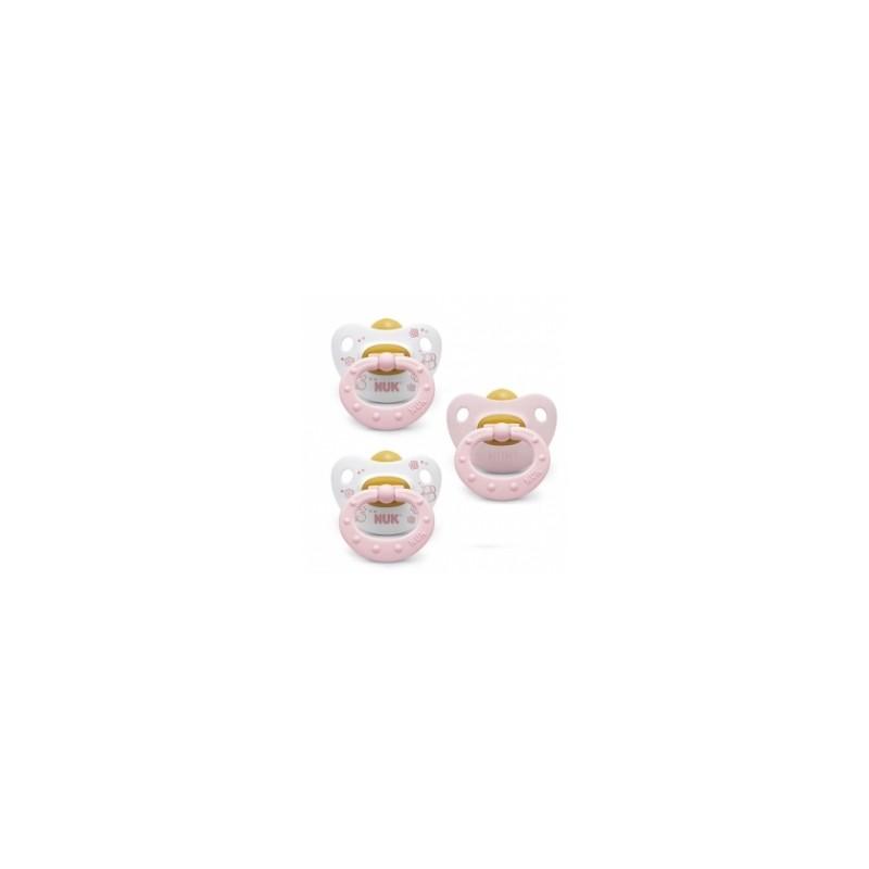 Chupetes Nuk Classic Rosa Latex 0-6 Meses 3x2 uds