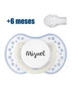 Chupete personalizable Lovi Blanco-Azul Noche y Día +6 Meses