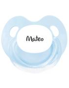 Chupete Personalizados RETRO Azul y Blanco Anatómica Látex 0 Meses