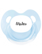 Chupete Personalizados RETRO Azul y Blanco Fisológica Silicona 0 Meses