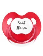 Chupete Personalizados RETRO Rojo y Blanco Fisiológico Silicona 0 Meses