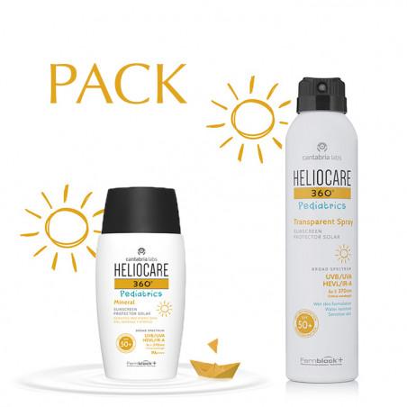 Pack Heliocare 360 Pediatrics Mineral SPF50 50ml + Heliocare Pediatrics Transparent Spray SPF50 200ml